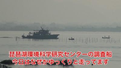 山ノ下湾から眺めた琵琶湖南湖は晴天微風のいい天気です(YouTubeムービー)