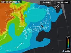 PM2.5分布予測(12月1日9時)