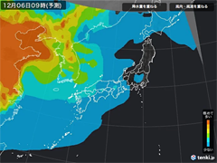PM2.5分布予測(12月6日9時)