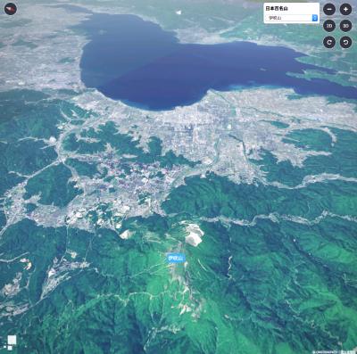 伊吹山上空から眺めた琵琶湖(マピオン3Dマップ)