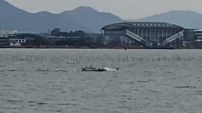 またもアホ風の琵琶湖南湖!! 漁船が白波蹴立てて走ってます #今日の琵琶湖(YouTubeムービー)