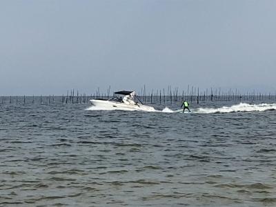 真野浜から眺めた琵琶湖北湖(1月14日12時20分頃)