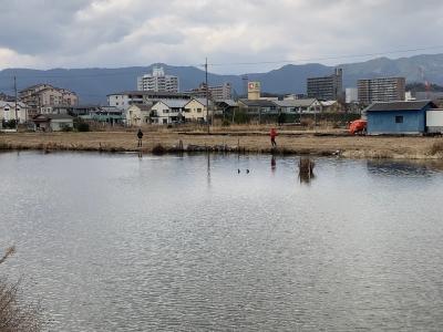 堅田のカヤ池で釣りをするアングラー(1月17日11時15分頃)