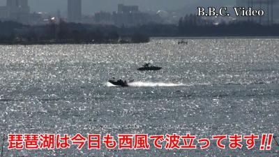 天候回復したけど西風が続く琵琶湖!! ボートは極少 #今日の琵琶湖(YouTubeムービー)
