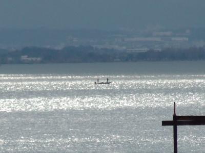 山ノ下湾沖で釣り中のボート(2月3日11時頃)