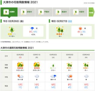 大津市の花粉飛散情報(2月26日18時)
