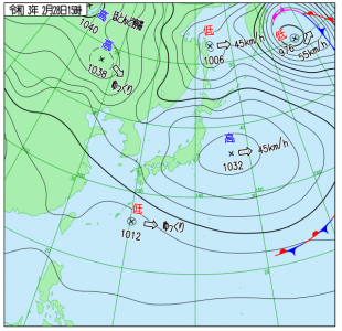 2月28日(日)15時の実況天気図