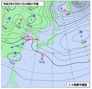 3月1日(月)9時の予想天気図