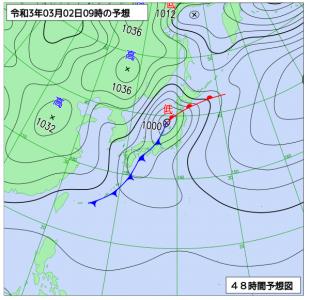 3月2日(火)9時の予想天気図
