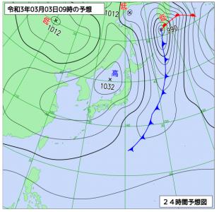 3月3日(水)9時の予想天気図