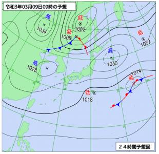 3月8日(月)15時の実況天気図