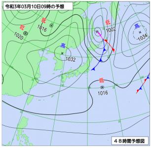 3月9日(火)9時の予想天気図