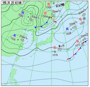 3月9日(火)15時の実況天気図