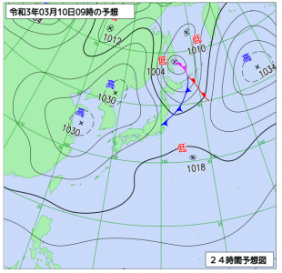 3月10日(水)9時の予想天気図
