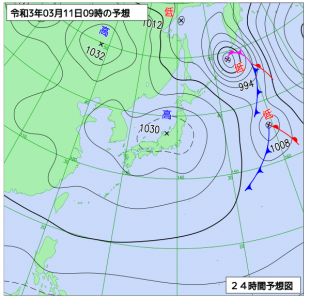 3月11日(木)9時の予想天気図