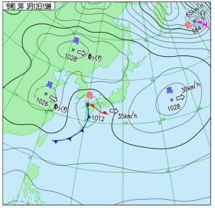 3月12日(金)15時の実況天気図