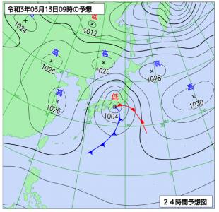 3月13日(土)9時の予想天気図