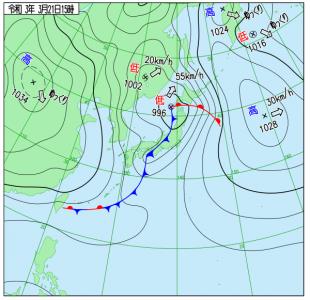 3月21日(日祝)15時の実況天気図