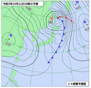 3月22日(月)9時の予想天気図