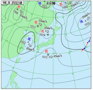 3月25日(木)15時の実況天気図