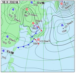 3月28日(日)15時の実況天気図