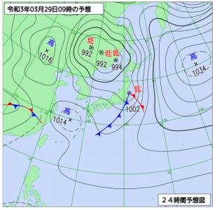 3月29日(月)9時の予想天気図