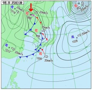 3月28日(日)12時の実況天気図