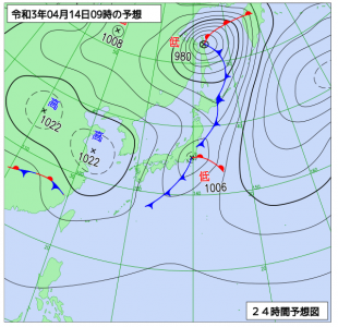 4月14日(水)9時の予想天気図