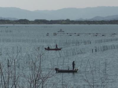 山ノ下湾内で釣り中のボート(4月15日9時40分頃)