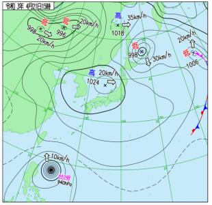4月21日(水)15時の実況天気図