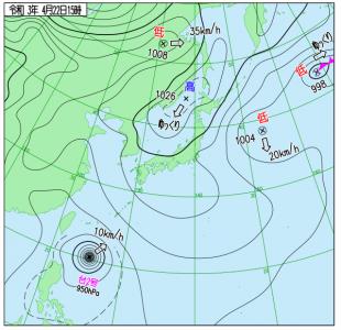 4月22日(木)15時の実況天気図
