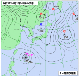 4月23日(金)9時の予想天気図
