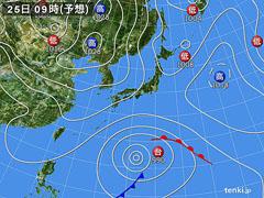 4月25日(日)9時の予想天気図