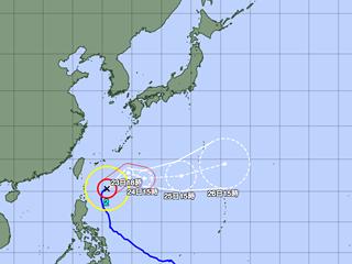 台風2号進路図(4月22日18時)