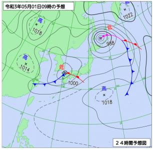 5月1日(土)9時の予想天気図