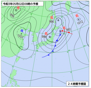 5月2日(日)9時の予想天気図