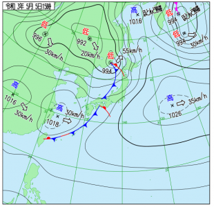 5月5日(水祝)15時の実況天気図