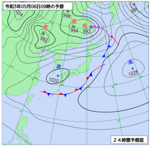 5月6日(木)9時の予想天気図