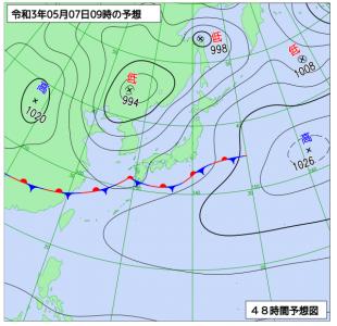 5月7日(金)9時の予想天気図