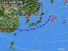 5月8日(土)9時の予想天気図