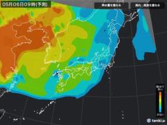 PM2.5分布予測(5月6日9時)
