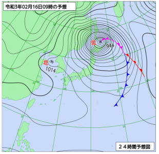 2月16日(火)9時の予想天気図