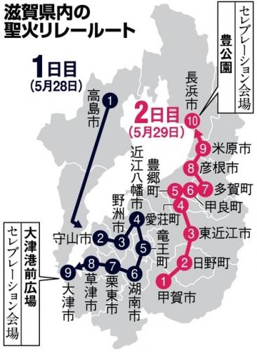 滋賀の聖火リレーコース
