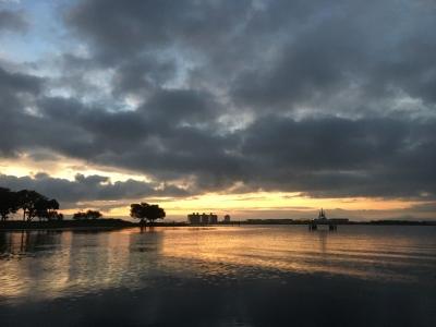 明け方の琵琶湖大橋付近(9月5日5時30分頃)