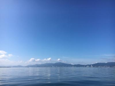 今朝の琵琶湖南湖は晴天微風飲めちゃいい天気(9月5日9時頃)