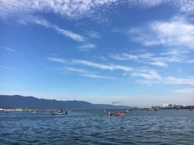 琵琶湖南湖は曇天微風の絶好のコンディションなのにボイルは起こらず(10月7日7時30分頃)