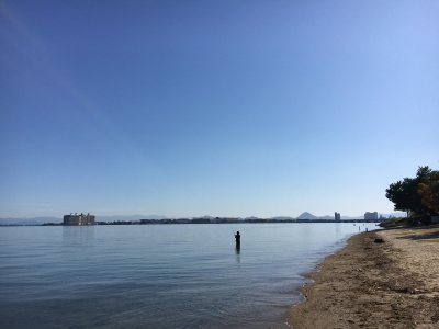 快晴微風の琵琶湖北湖(10月27日11時30分頃)