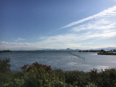 山ノ下湾から眺めた南湖は南寄りの爆風(11月5日9時30分頃)