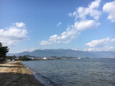 真野浜から眺めた琵琶湖北湖は週末から引き続きいい天気です(11月16日14時20分頃)