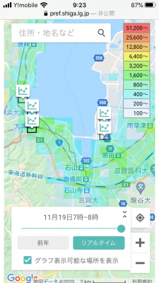 モバイル空間統計人口マップ(滋賀県版)スマホ表示